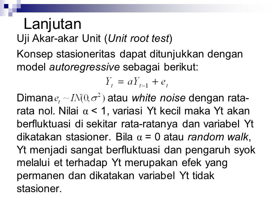 Lanjutan Uji Akar-akar Unit (Unit root test) Konsep stasioneritas dapat ditunjukkan dengan model autoregressive sebagai berikut: Dimana atau white noise dengan rata- rata nol.
