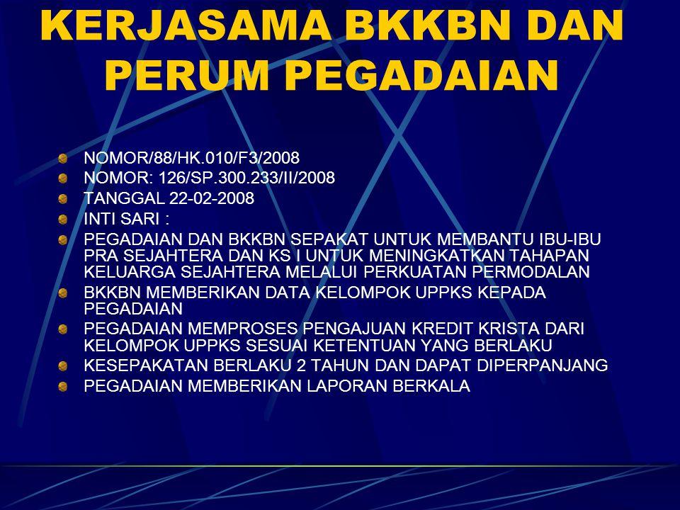 KESEPAKATAN KERJASAMA BKKBN DAN PERUM PEGADAIAN NOMOR/88/HK.010/F3/2008 NOMOR: 126/SP.300.233/II/2008 TANGGAL 22-02-2008 INTI SARI : PEGADAIAN DAN BKK