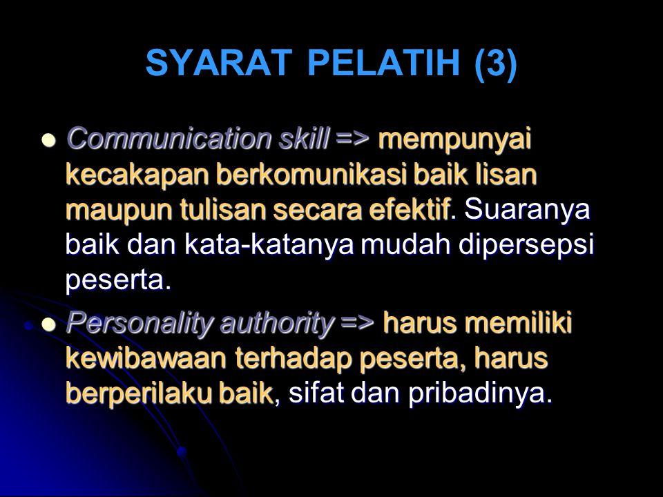 SYARAT PELATIH (3) Communication skill => mempunyai kecakapan berkomunikasi baik lisan maupun tulisan secara efektif.
