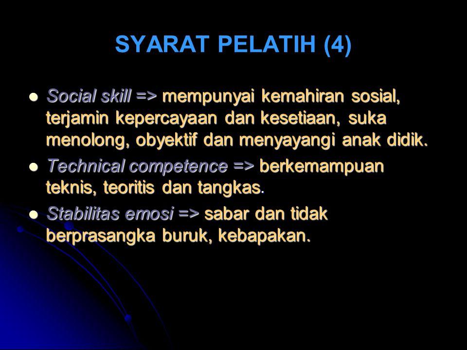 SYARAT PELATIH (4) Social skill => mempunyai kemahiran sosial, terjamin kepercayaan dan kesetiaan, suka menolong, obyektif dan menyayangi anak didik.