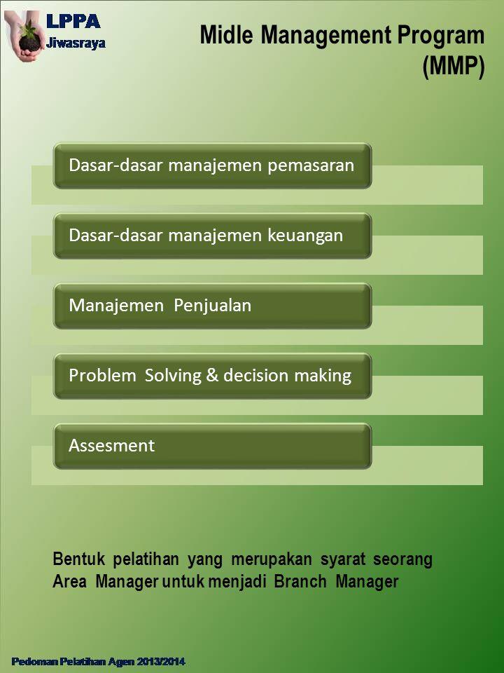 Midle Management Program (MMP) Dasar-dasar manajemen pemasaranDasar-dasar manajemen keuanganManajemen PenjualanProblem Solving & decision makingAssesm