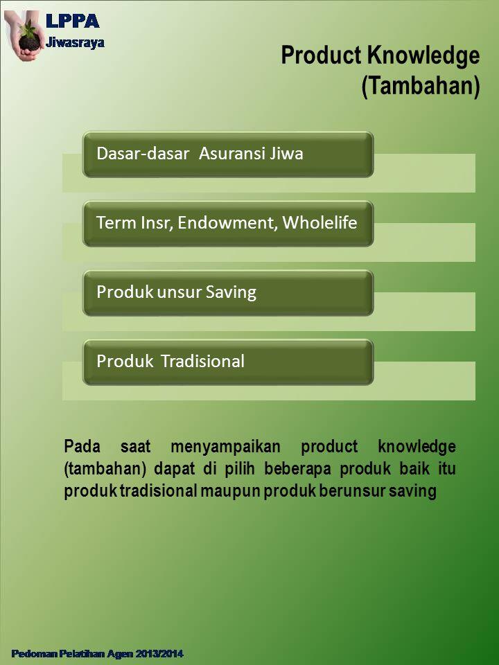 Product Knowledge (Tambahan) Dasar-dasar Asuransi JiwaTerm Insr, Endowment, WholelifeProduk unsur SavingProduk Tradisional Pada saat menyampaikan prod