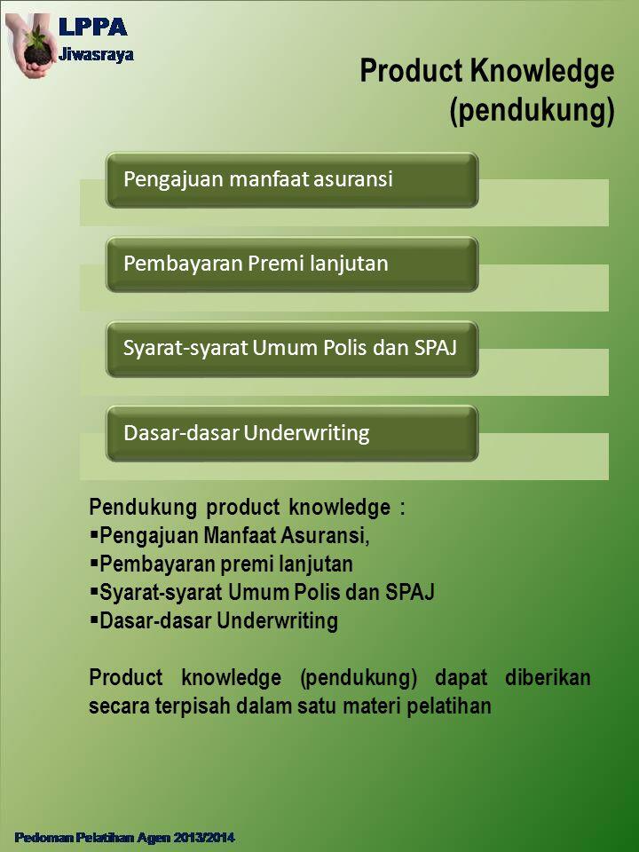 Product Knowledge (pendukung) Pengajuan manfaat asuransiPembayaran Premi lanjutanSyarat-syarat Umum Polis dan SPAJDasar-dasar Underwriting Pendukung p
