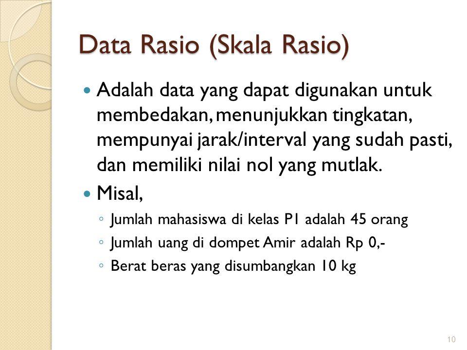 Data Rasio (Skala Rasio) Adalah data yang dapat digunakan untuk membedakan, menunjukkan tingkatan, mempunyai jarak/interval yang sudah pasti, dan memi