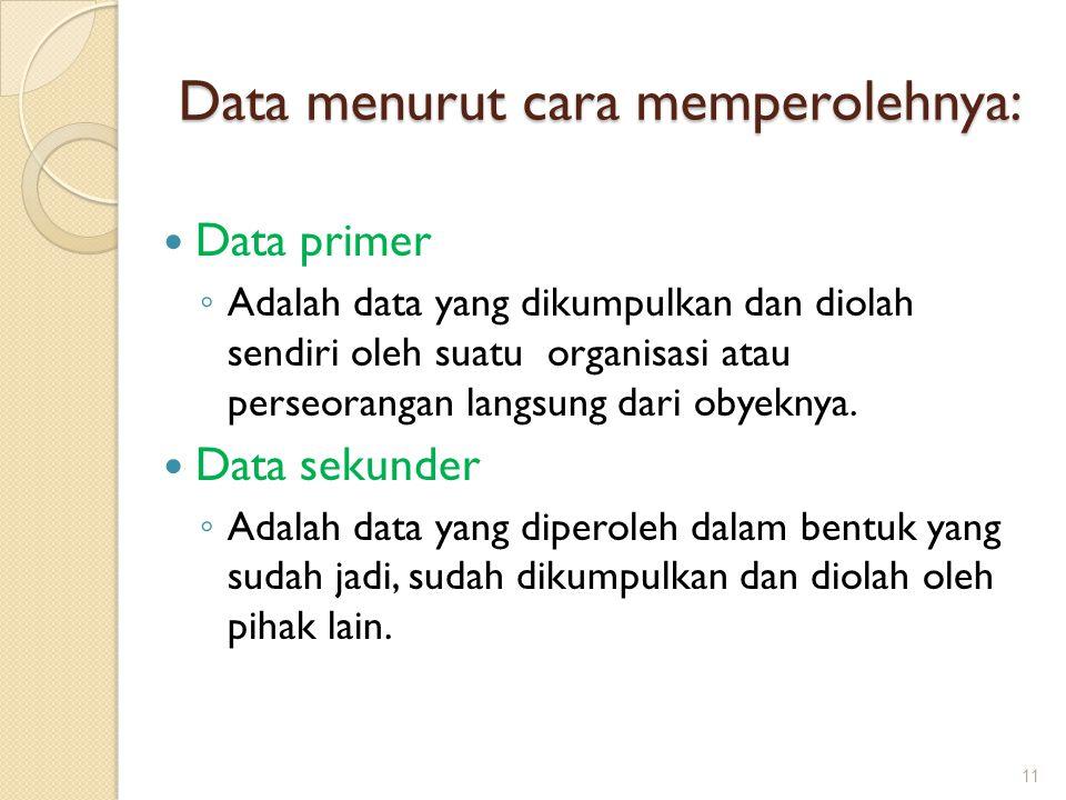 Data menurut cara memperolehnya: Data primer ◦ Adalah data yang dikumpulkan dan diolah sendiri oleh suatu organisasi atau perseorangan langsung dari o