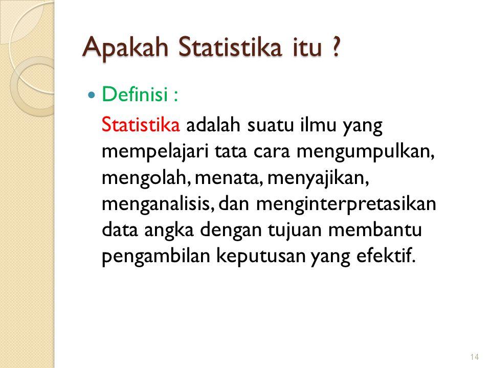 Apakah Statistika itu ? Definisi : Statistika adalah suatu ilmu yang mempelajari tata cara mengumpulkan, mengolah, menata, menyajikan, menganalisis, d