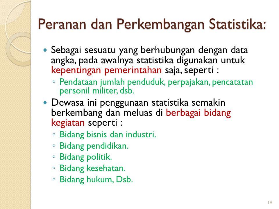 Peranan dan Perkembangan Statistika: Sebagai sesuatu yang berhubungan dengan data angka, pada awalnya statistika digunakan untuk kepentingan pemerinta