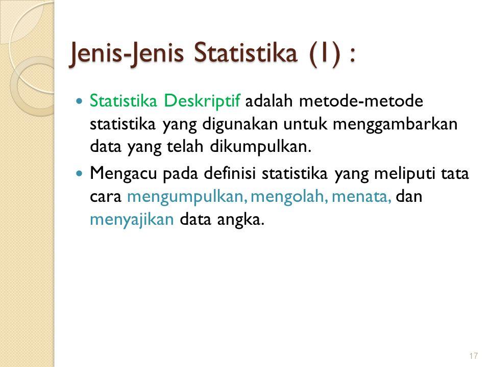 Jenis-Jenis Statistika (1) : Statistika Deskriptif adalah metode-metode statistika yang digunakan untuk menggambarkan data yang telah dikumpulkan. Men