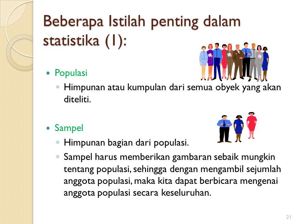 Beberapa Istilah penting dalam statistika (1): Populasi ◦ Himpunan atau kumpulan dari semua obyek yang akan diteliti. Sampel ◦ Himpunan bagian dari po