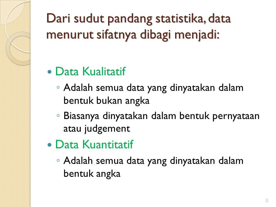 Menurut tingkatan skalanya, data dikelompokkan menjadi: Data nominal (skala nominal) Data ordinal (skala ordinal) Data interval (skala interval) Data rasio (skala rasio) 6