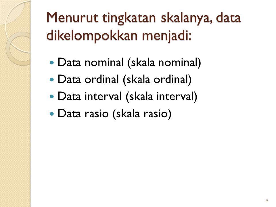 Menurut tingkatan skalanya, data dikelompokkan menjadi: Data nominal (skala nominal) Data ordinal (skala ordinal) Data interval (skala interval) Data