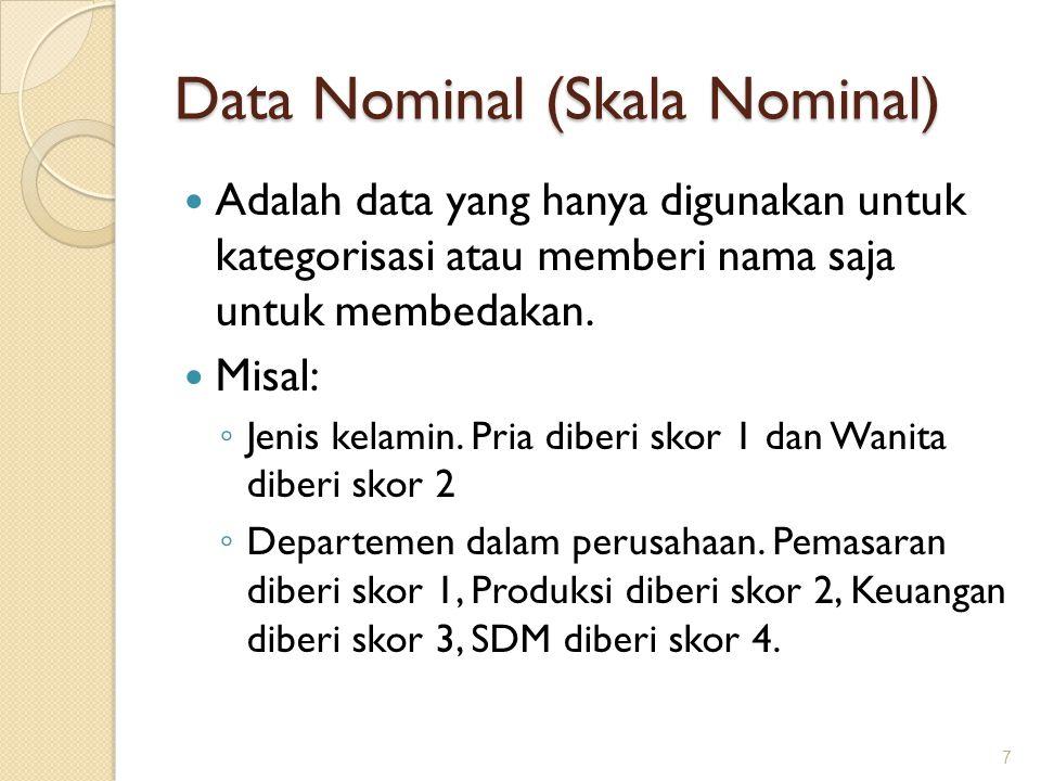 Data Nominal (Skala Nominal) Adalah data yang hanya digunakan untuk kategorisasi atau memberi nama saja untuk membedakan. Misal: ◦ Jenis kelamin. Pria