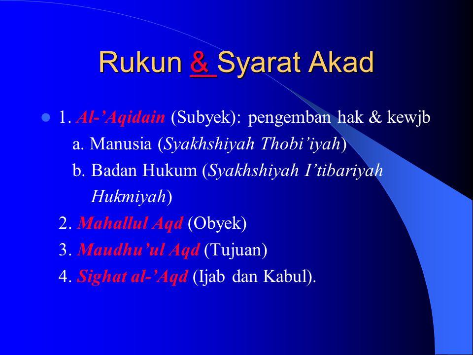 Rukun & Syarat Akad 4 komponen pmbtk Akad (Ash-shiddiqy): 1. Al-'Aqidain (subyek) 2. Mahallul-'Aqd (obyek) 3. Maudhu'ul-'Aqd (tujuan) 4. Sighat al-'Aq