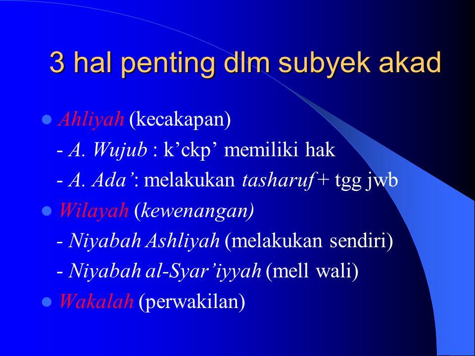 3 hal penting dlm subyek akad Ahliyah (kecakapan) - A.