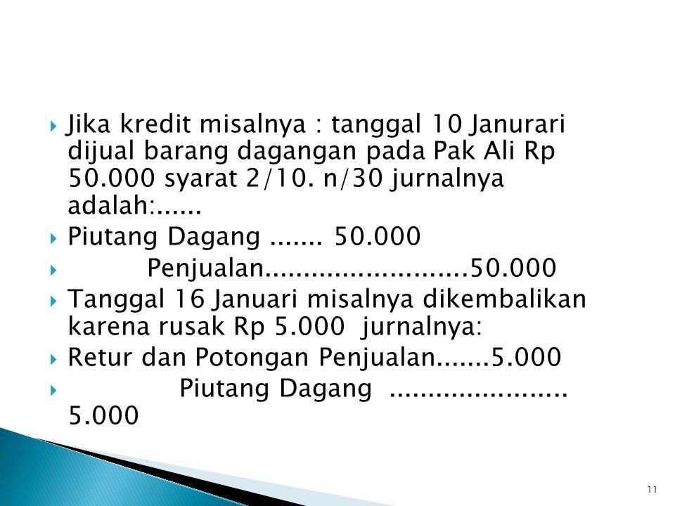  Jika kredit misalnya : tanggal 10 Janurari dijual barang dagangan pada Pak Ali Rp 50.000 syarat 2/10.