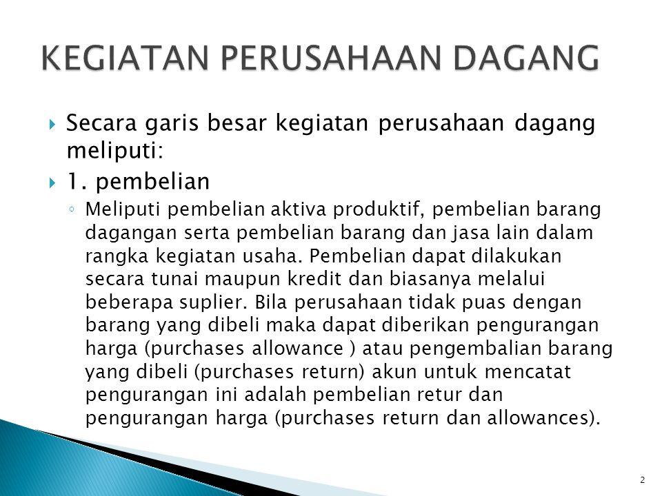  Misal: Tanggal 31 Januari 200A perusahaan membeli barang dagangan dengan haraga Rp 50.000 secara kredit syarat 2/10, n/30  Jurnalnya:  Pembelian................50.000  Utang Dagang.........................50.000 Rek Pembelian hanya digunakan untuk mencatat barang yang dibeli untuk dijual kembali, Jika Membeli aktiva untuk digunakan dalam operasional maka jurnalnya debet aktiva bukan rekening pembelian.