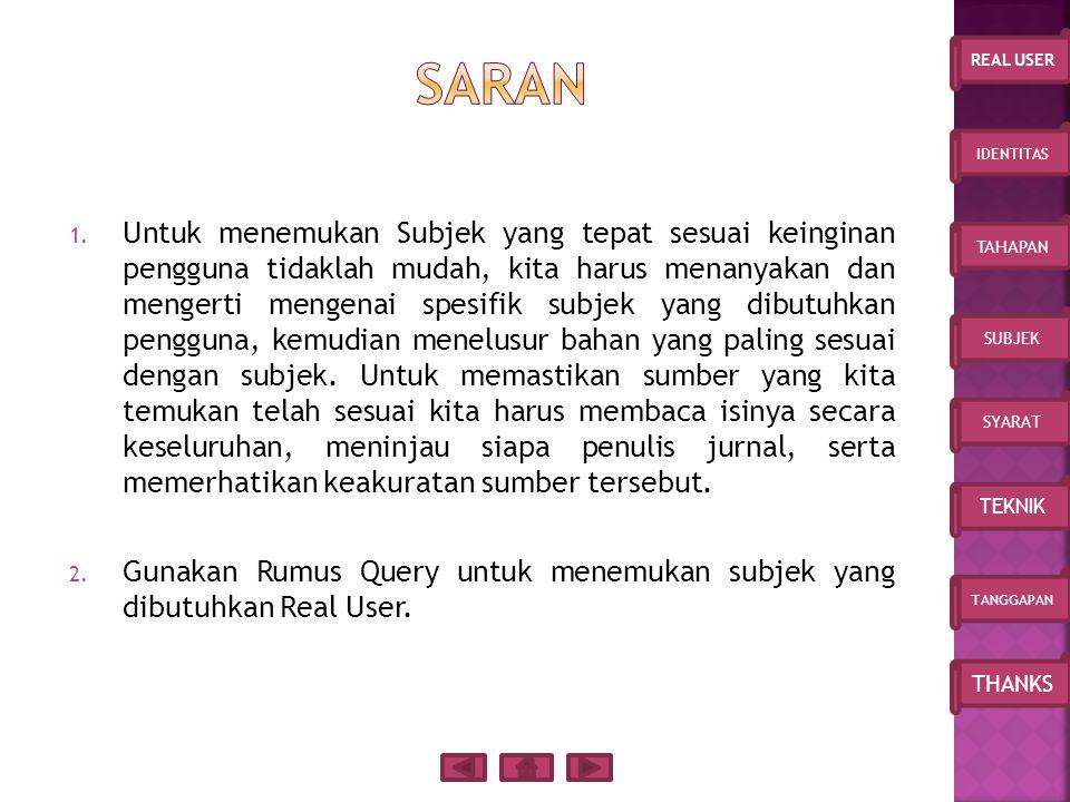 IDENTITAS TAHAPAN SUBJEK SYARAT TEKNIK TANGGAPAN THANKS REAL USER 1.