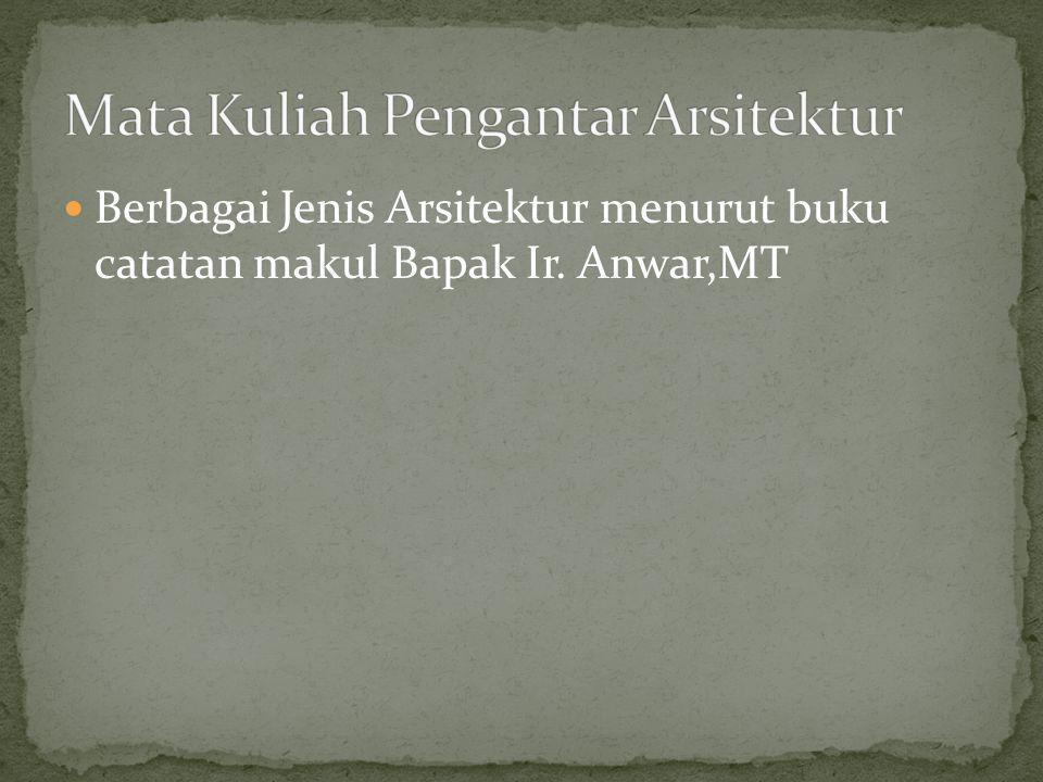 Berbagai Jenis Arsitektur menurut buku catatan makul Bapak Ir. Anwar,MT