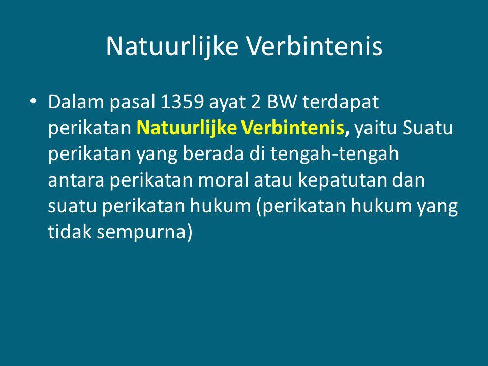 Natuurlijke Verbintenis Dalam pasal 1359 ayat 2 BW terdapat perikatan Natuurlijke Verbintenis, yaitu Suatu perikatan yang berada di tengah-tengah antara perikatan moral atau kepatutan dan suatu perikatan hukum (perikatan hukum yang tidak sempurna)