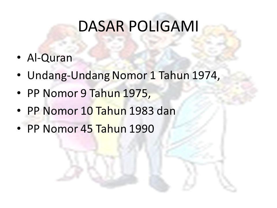 DASAR POLIGAMI Al-Quran Undang-Undang Nomor 1 Tahun 1974, PP Nomor 9 Tahun 1975, PP Nomor 10 Tahun 1983 dan PP Nomor 45 Tahun 1990