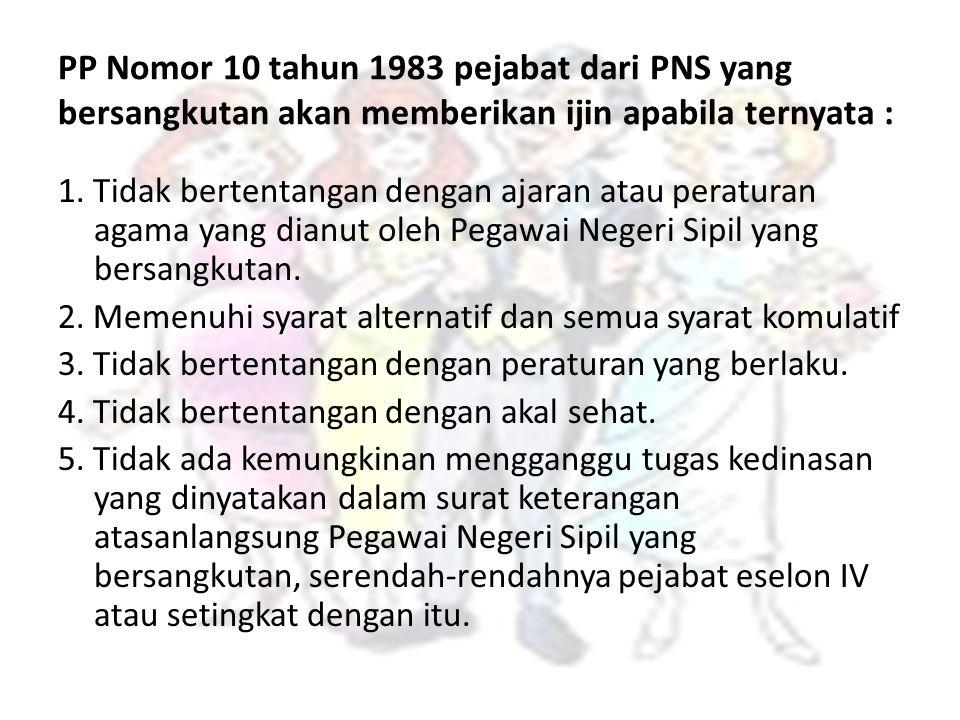 PP Nomor 10 tahun 1983 pejabat dari PNS yang bersangkutan akan memberikan ijin apabila ternyata : 1. Tidak bertentangan dengan ajaran atau peraturan a
