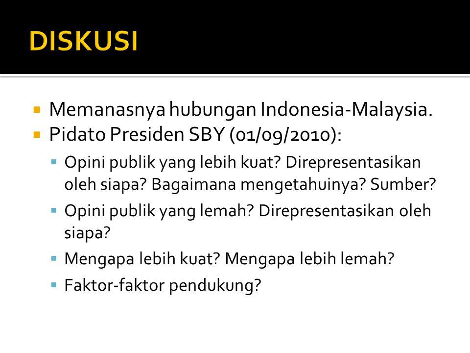  Memanasnya hubungan Indonesia-Malaysia.  Pidato Presiden SBY (01/09/2010):  Opini publik yang lebih kuat? Direpresentasikan oleh siapa? Bagaimana