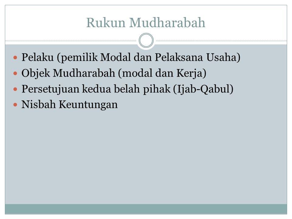 Rukun Mudharabah Pelaku (pemilik Modal dan Pelaksana Usaha) Objek Mudharabah (modal dan Kerja) Persetujuan kedua belah pihak (Ijab-Qabul) Nisbah Keunt