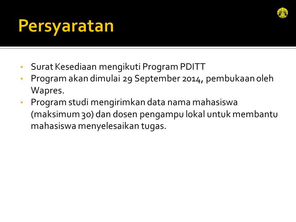 Surat Kesediaan mengikuti Program PDITT Program akan dimulai 29 September 2014, pembukaan oleh Wapres. Program studi mengirimkan data nama mahasiswa (
