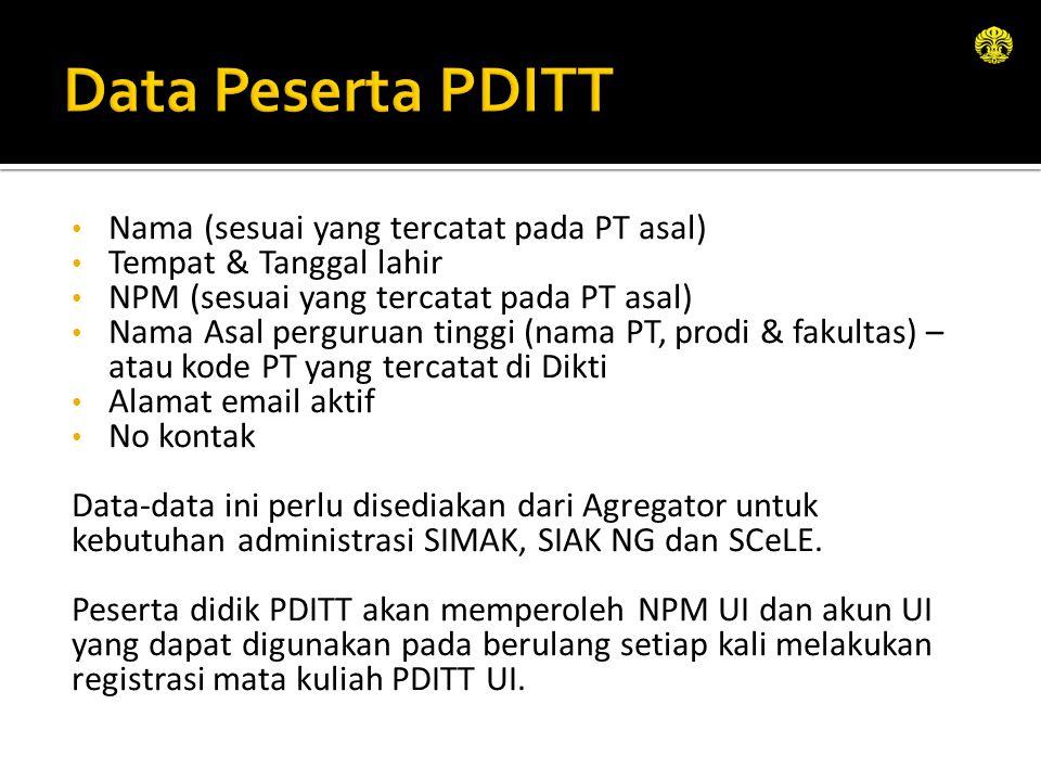 Nama (sesuai yang tercatat pada PT asal) Tempat & Tanggal lahir NPM (sesuai yang tercatat pada PT asal) Nama Asal perguruan tinggi (nama PT, prodi & f