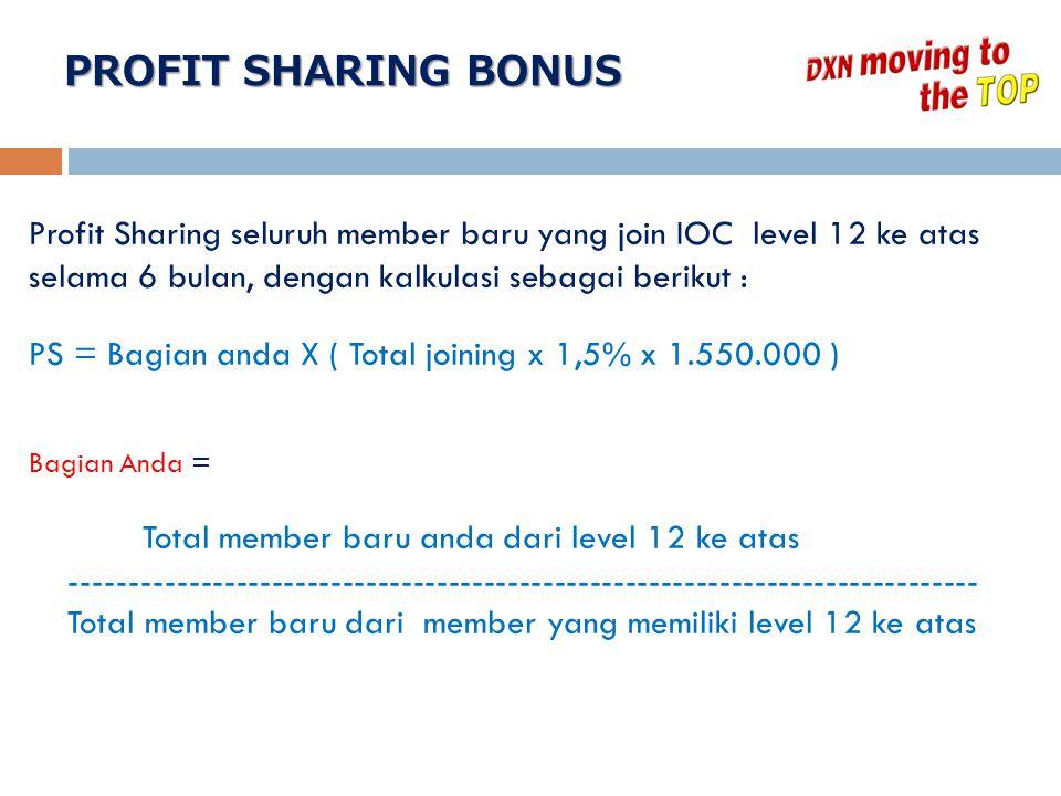Profit Sharing seluruh member baru yang join IOC level 12 ke atas selama 6 bulan, dengan kalkulasi sebagai berikut : PS = Bagian anda X ( Total joinin