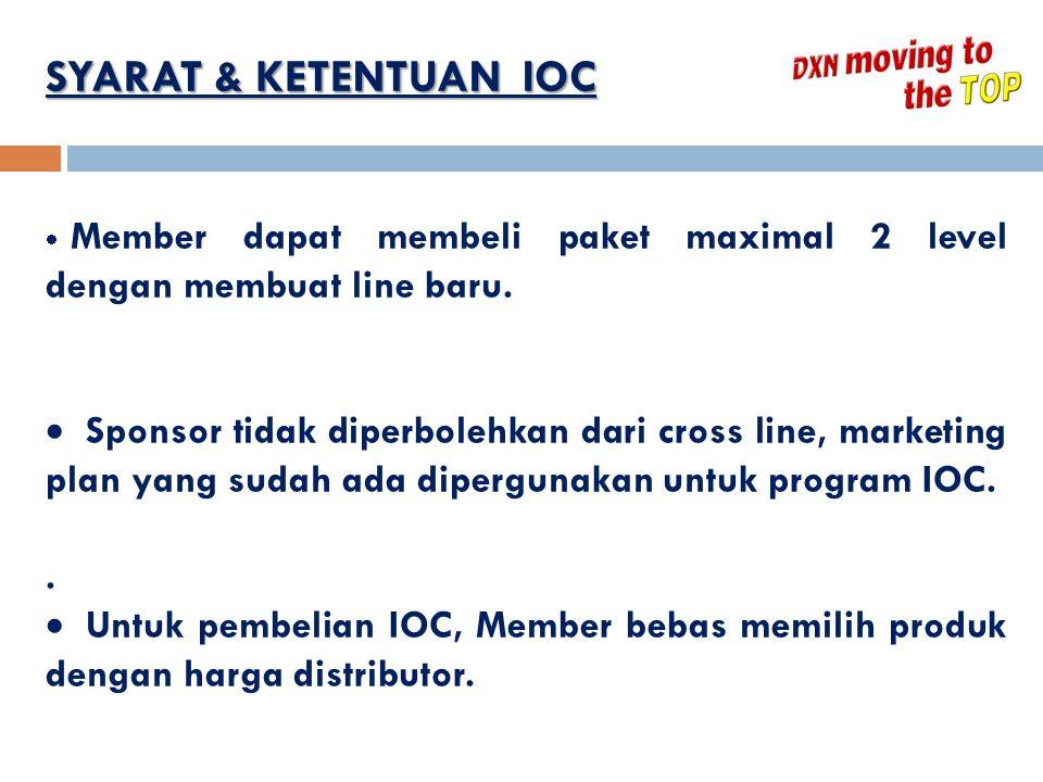 SYARAT & KETENTUAN IOC  Member dapat membeli paket maximal 2 level dengan membuat line baru.  Sponsor tidak diperbolehkan dari cross line, marketing