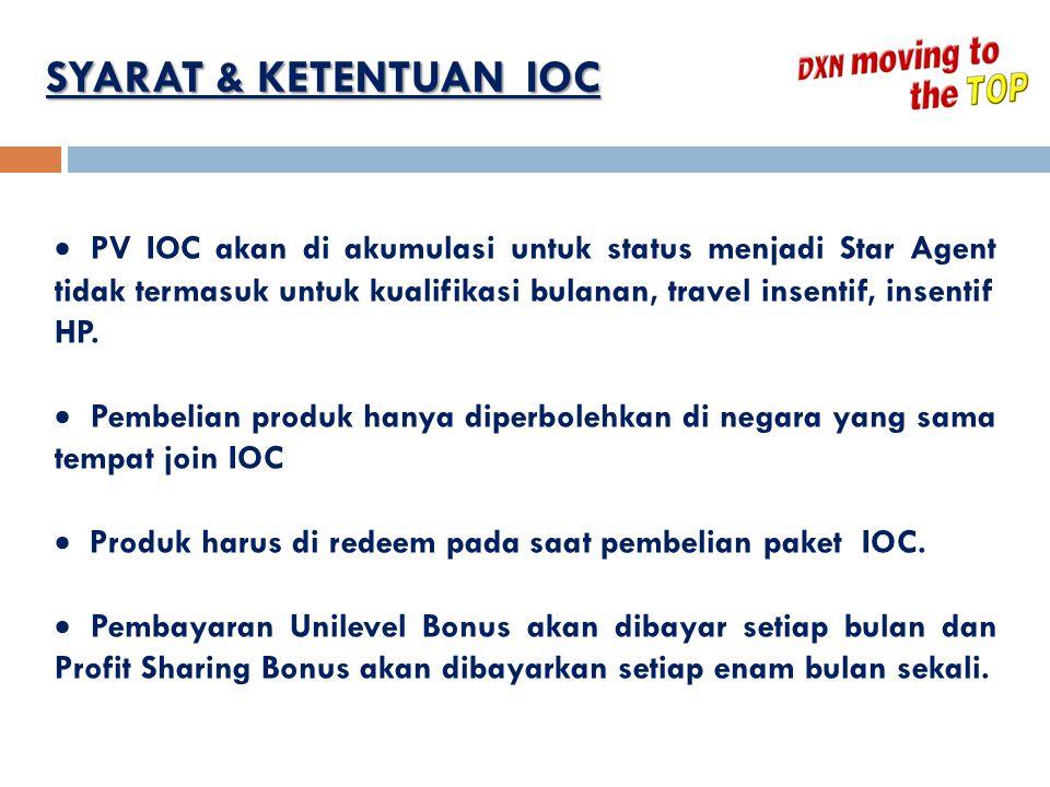 SYARAT & KETENTUAN IOC  PV IOC akan di akumulasi untuk status menjadi Star Agent tidak termasuk untuk kualifikasi bulanan, travel insentif, insentif