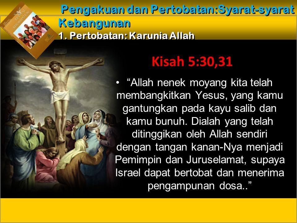 Allah nenek moyang kita telah membangkitkan Yesus, yang kamu gantungkan pada kayu salib dan kamu bunuh.