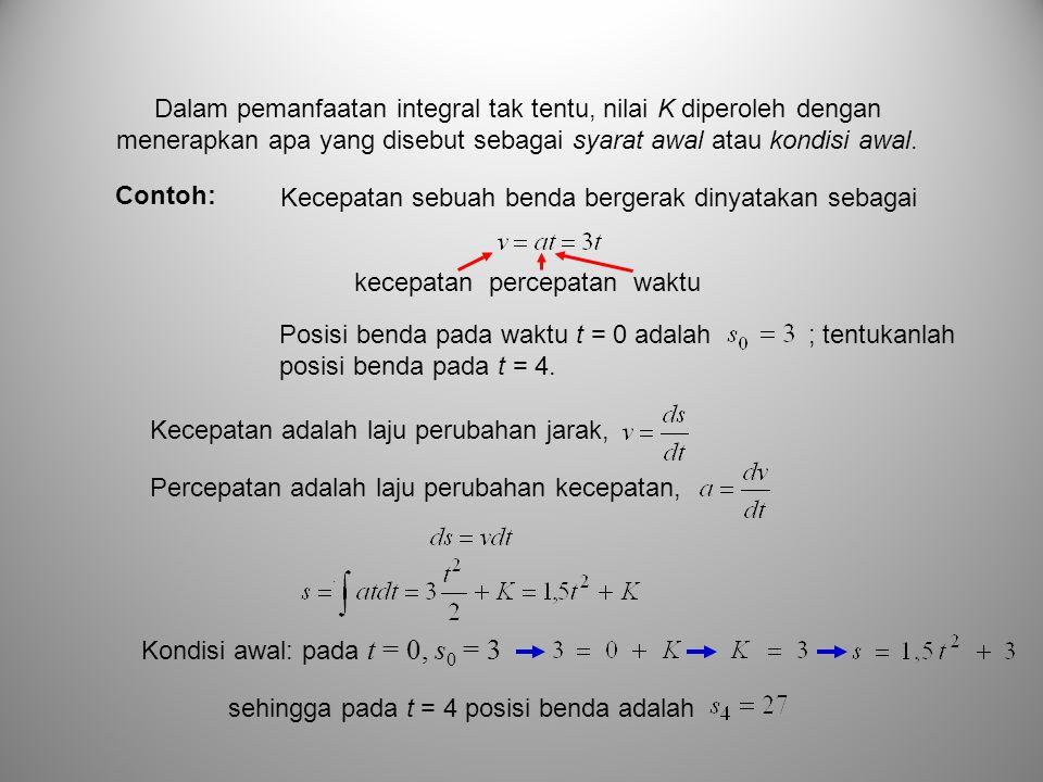 Dalam pemanfaatan integral tak tentu, nilai K diperoleh dengan menerapkan apa yang disebut sebagai syarat awal atau kondisi awal. Kecepatan sebuah ben
