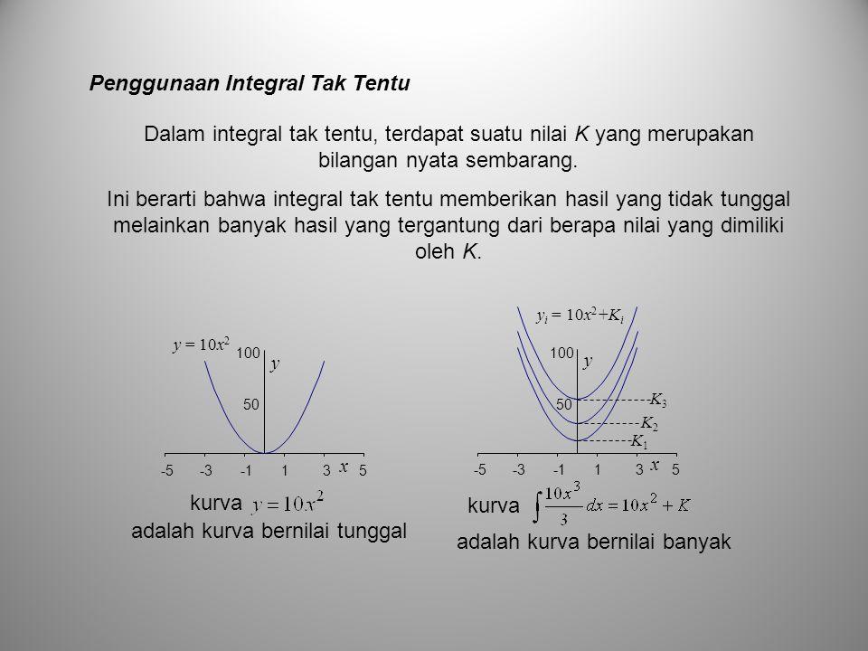 Penggunaan Integral Tak Tentu Dalam integral tak tentu, terdapat suatu nilai K yang merupakan bilangan nyata sembarang. Ini berarti bahwa integral tak