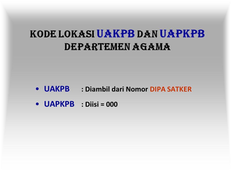 KODE LOKASI UAPPB-W DEPARTEMEN AGAMA (KMA: 498/ 2003) Kanwil, Kandepag, Madrasah Provinsi Sum-Sel = 11Kanwil, Kandepag, Madrasah Provinsi Sum-Sel = 11 Kanwil, Kandepag, Madrasah Provinsi Lampung = 12Kanwil, Kandepag, Madrasah Provinsi Lampung = 12 Kanwil, Kandepag, Madrasah Provinsi Bengkulu = 26Kanwil, Kandepag, Madrasah Provinsi Bengkulu = 26 Kanwil, Kandepag, Madrasah Provinsi Babel = 30Kanwil, Kandepag, Madrasah Provinsi Babel = 30 IAIN Raden Fatah Palembang = 11IAIN Raden Fatah Palembang = 11 IAIN Raden Intan Bandar Lampung = 12IAIN Raden Intan Bandar Lampung = 12 STAIN Metro = 12STAIN Metro = 12 STAIN Curup = 26STAIN Curup = 26 STAIN Bengkulu = 26STAIN Bengkulu = 26 STAIN Bangka-Belitung = 30STAIN Bangka-Belitung = 30