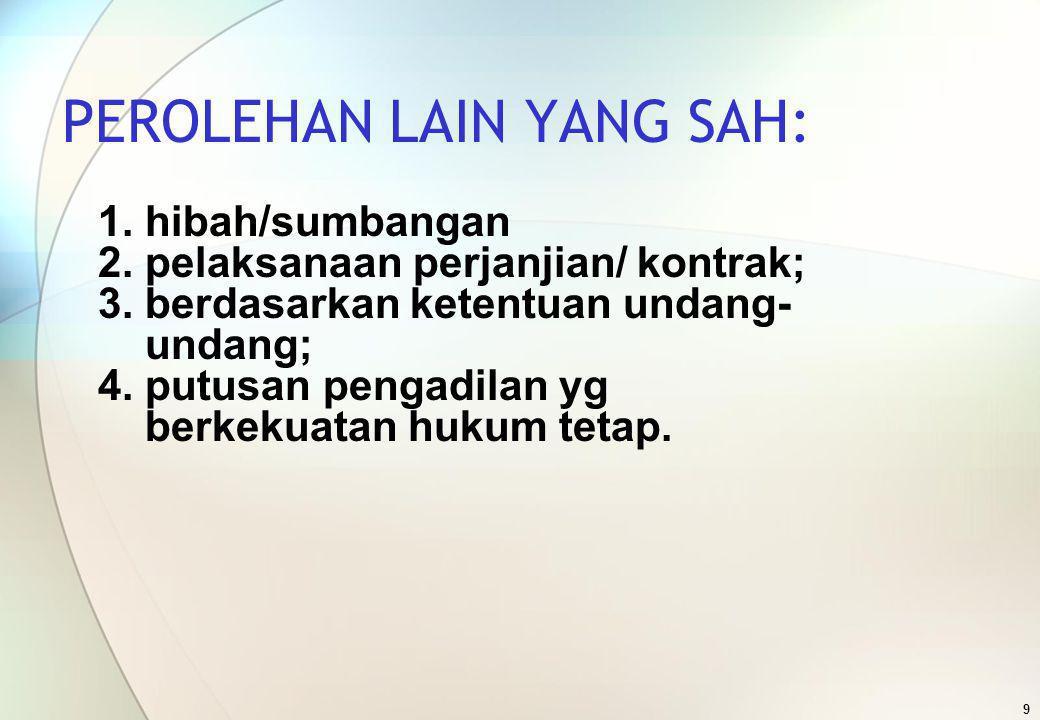 9 PEROLEHAN LAIN YANG SAH: 1. hibah/sumbangan 2. pelaksanaan perjanjian/ kontrak; 3. berdasarkan ketentuan undang- undang; 4. putusan pengadilan yg be