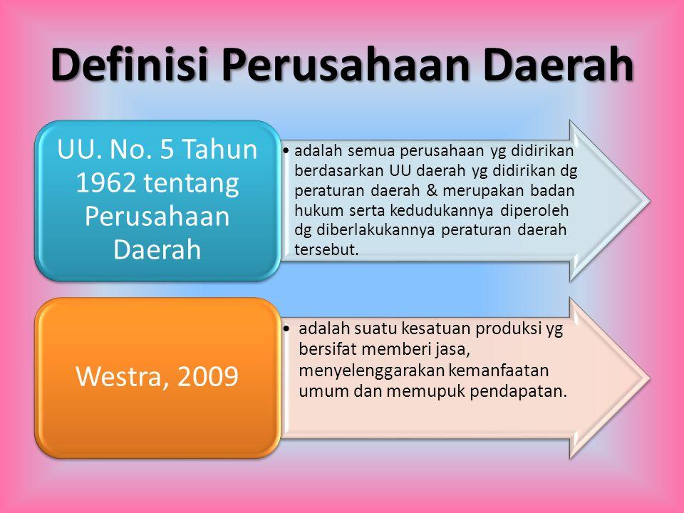Definisi Perusahaan Daerah adalah semua perusahaan yg didirikan berdasarkan UU daerah yg didirikan dg peraturan daerah & merupakan badan hukum serta k