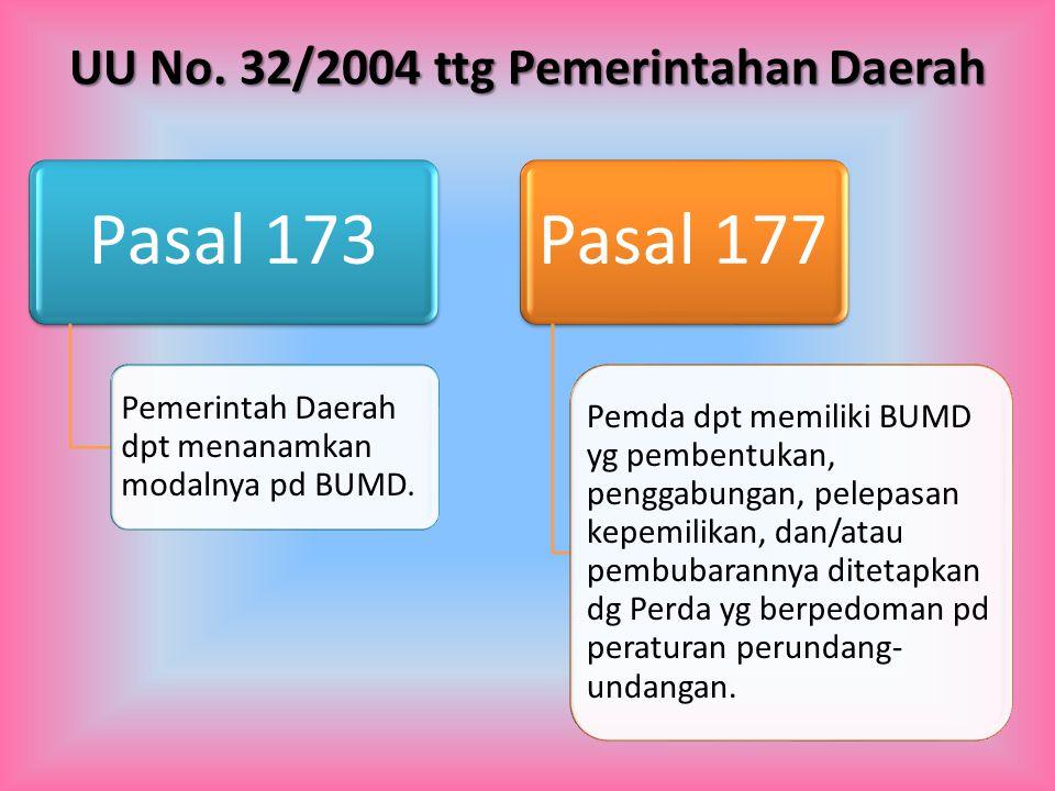 Pasal 173 Pemerintah Daerah dpt menanamkan modalnya pd BUMD. Pasal 177 Pemda dpt memiliki BUMD yg pembentukan, penggabungan, pelepasan kepemilikan, da