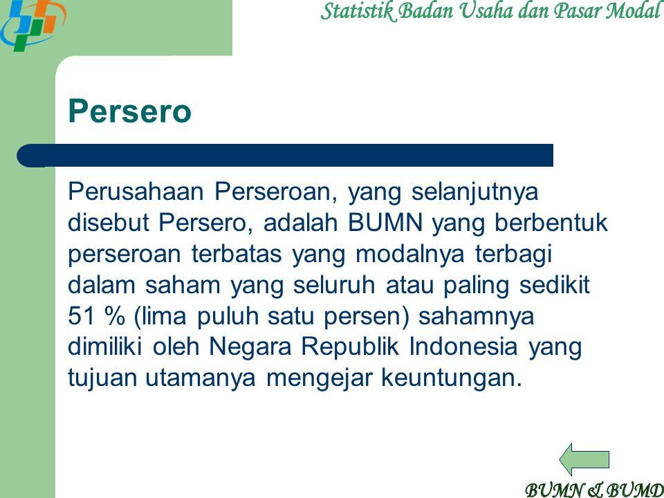 Persero Perusahaan Perseroan, yang selanjutnya disebut Persero, adalah BUMN yang berbentuk perseroan terbatas yang modalnya terbagi dalam saham yang s