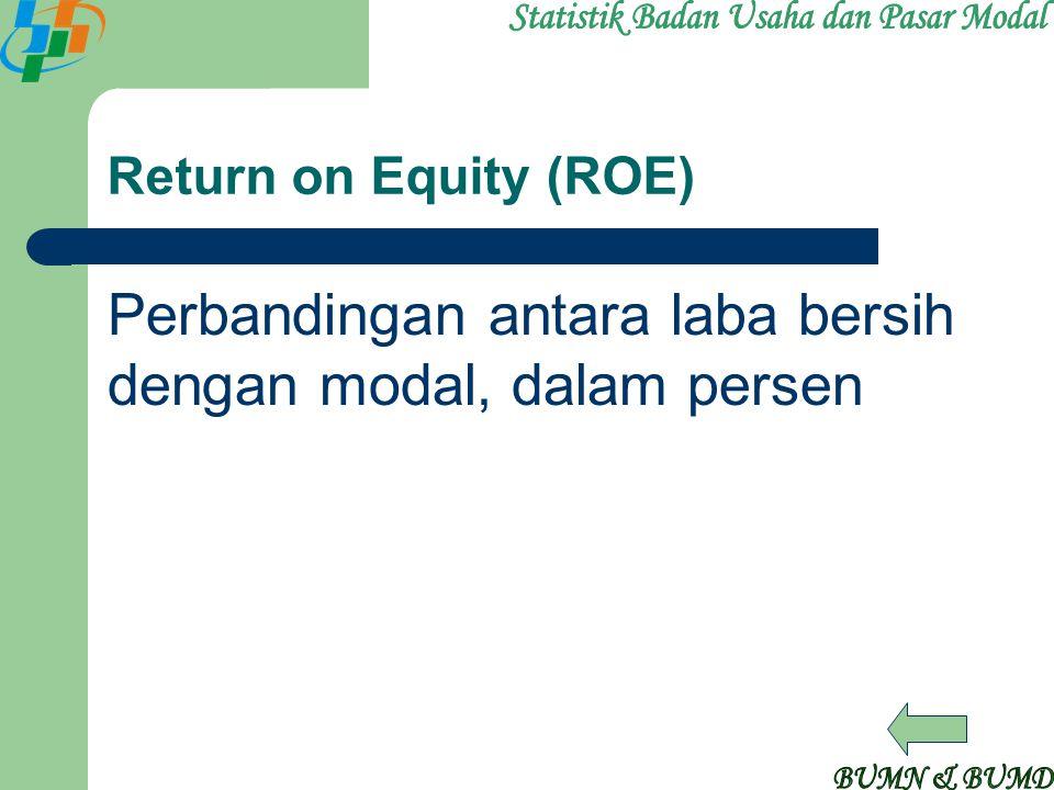 Return on Equity (ROE) Perbandingan antara laba bersih dengan modal, dalam persen
