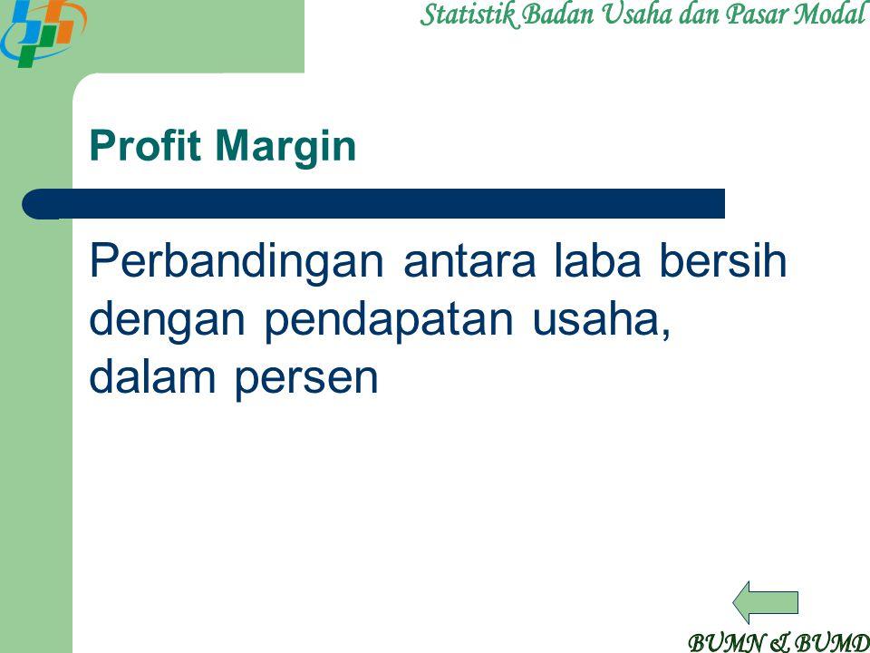 Profit Margin Perbandingan antara laba bersih dengan pendapatan usaha, dalam persen