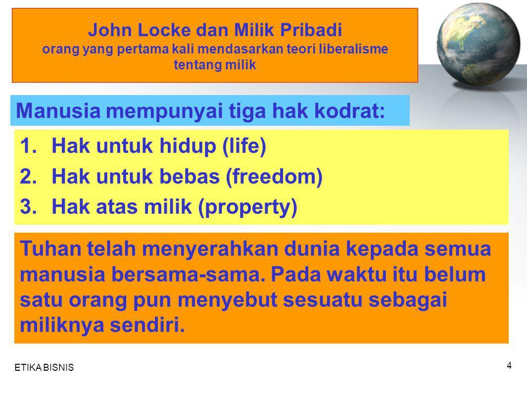 ETIKA BISNIS 4 John Locke dan Milik Pribadi orang yang pertama kali mendasarkan teori liberalisme tentang milik Manusia mempunyai tiga hak kodrat: 1.H