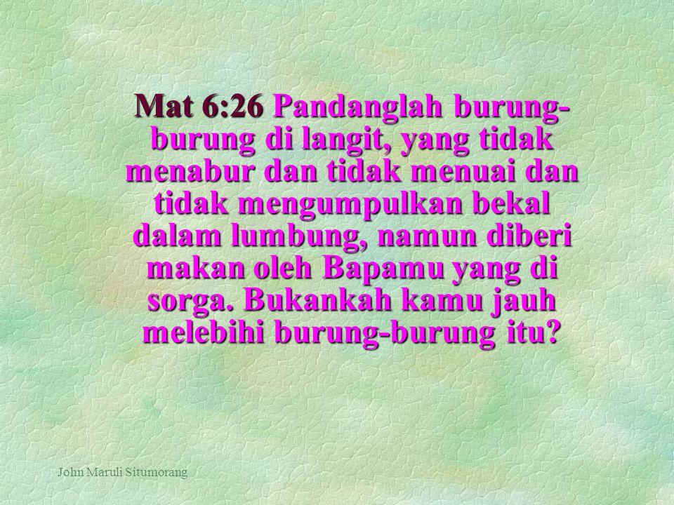 John Maruli Situmorang Mat 6:26 Pandanglah burung- burung di langit, yang tidak menabur dan tidak menuai dan tidak mengumpulkan bekal dalam lumbung, n
