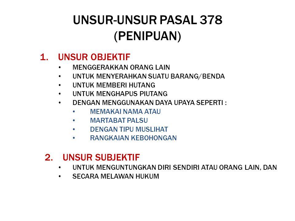UNSUR-UNSUR PASAL 378 (PENIPUAN) 1. UNSUR OBJEKTIF MENGGERAKKAN ORANG LAIN UNTUK MENYERAHKAN SUATU BARANG/BENDA UNTUK MEMBERI HUTANG UNTUK MENGHAPUS P