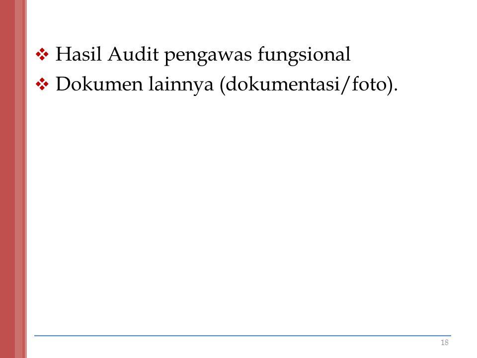  Hasil Audit pengawas fungsional  Dokumen lainnya (dokumentasi/foto). 18