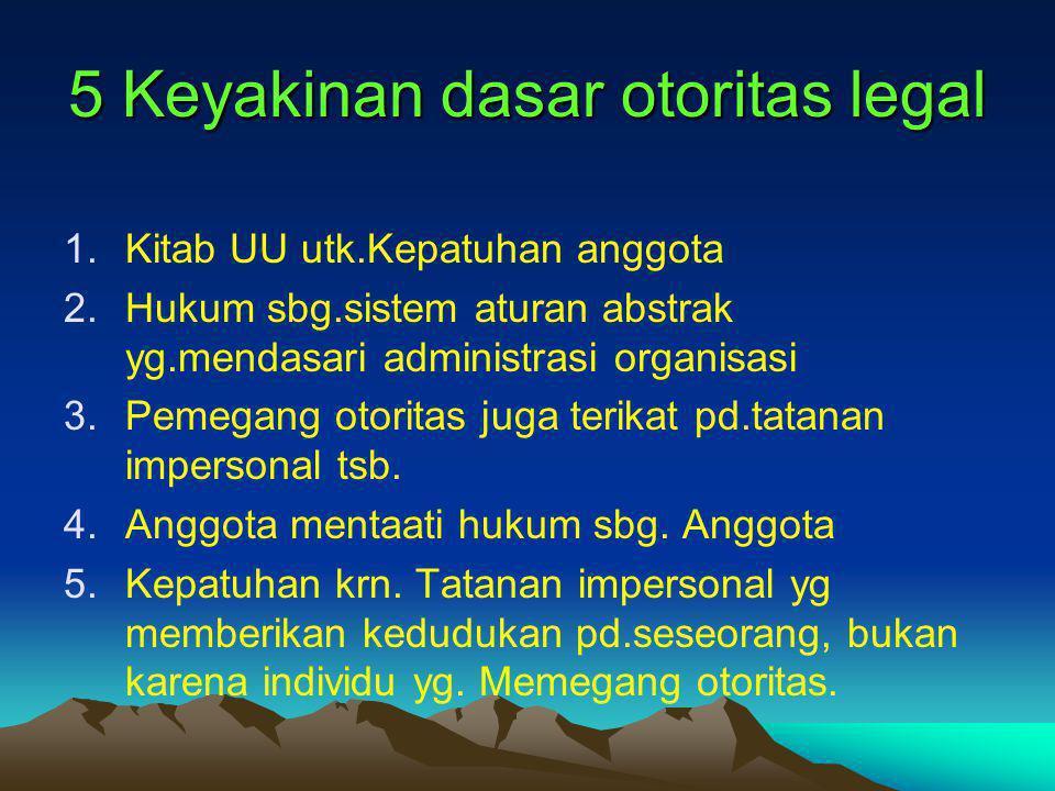 5 Keyakinan dasar otoritas legal 1.Kitab UU utk.Kepatuhan anggota 2.Hukum sbg.sistem aturan abstrak yg.mendasari administrasi organisasi 3.Pemegang ot