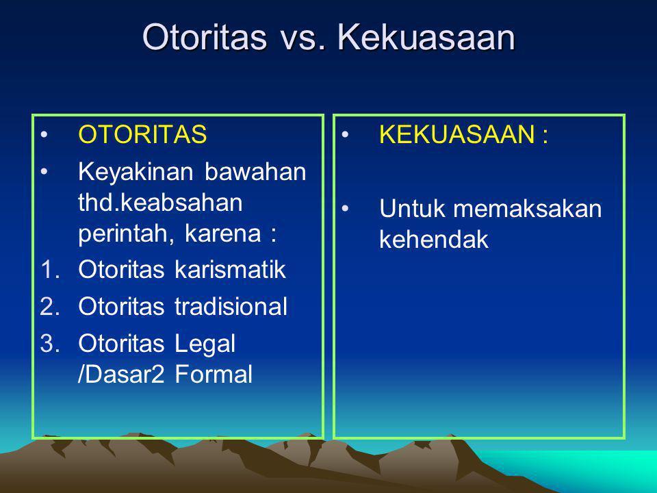 Otoritas vs. Kekuasaan OTORITAS Keyakinan bawahan thd.keabsahan perintah, karena : 1.Otoritas karismatik 2.Otoritas tradisional 3.Otoritas Legal /Dasa