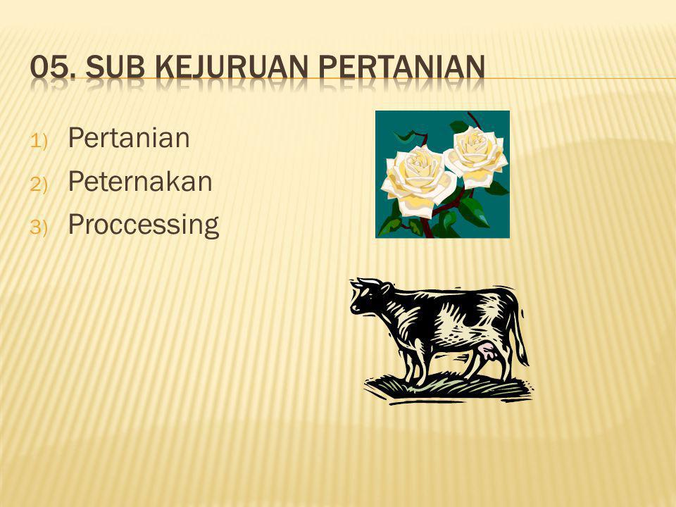1) Pertanian 2) Peternakan 3) Proccessing