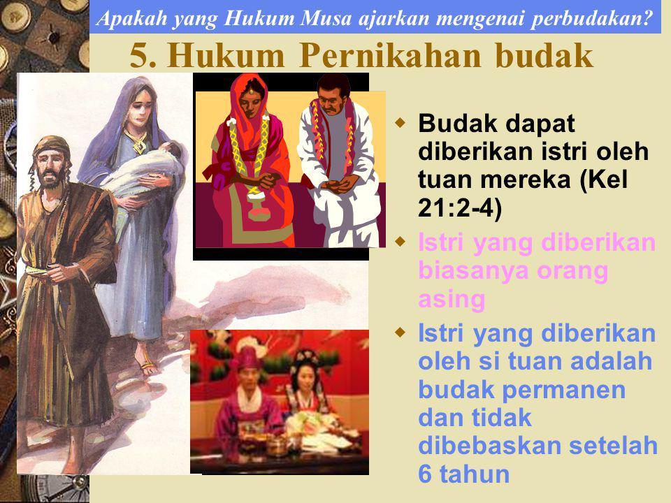 5.Hukum Pernikahan budak Apakah yang Hukum Musa ajarkan mengenai perbudakan.